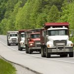Dump Trucks On Highway